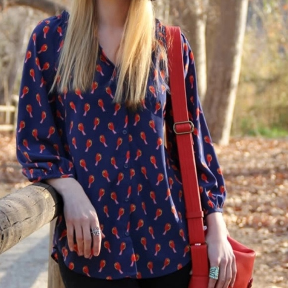 Old Navy Tops - Old Navy Red Bird Blouse